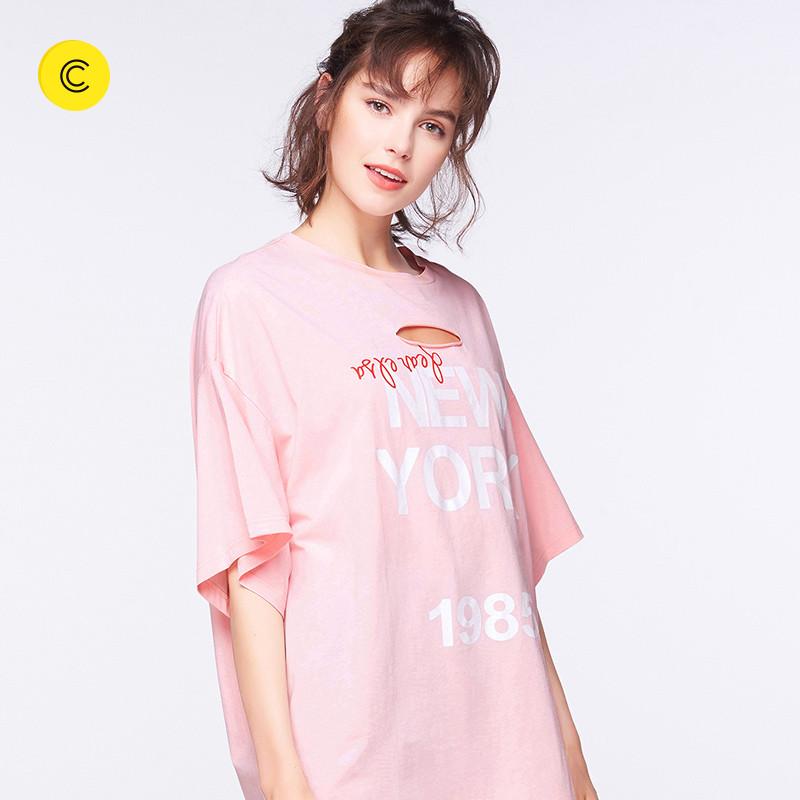 个性女装 cachecache2017新款女装上衣个性破洞不规则字母宽松休闲T恤女_推荐淘宝好看的个性女装