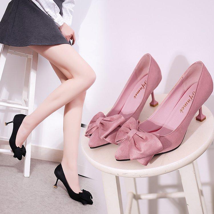 粉红色高跟鞋 春尖头单鞋细跟高跟鞋猫跟鞋浅口蝴蝶结甜美系淑女粉红色女鞋婚鞋_推荐淘宝好看的粉红色高跟鞋
