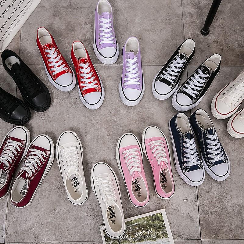 绿色帆布鞋 韩版情侣彩色女帆布鞋糖果色橘色粉色黄色绿色紫色系带女学生布鞋_推荐淘宝好看的绿色帆布鞋