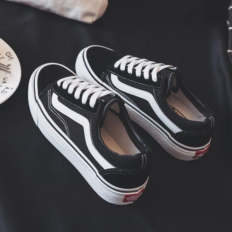黑色帆布鞋 ins帆布鞋子女2018新款学生韩版街拍原宿ulzzang百搭黑色万斯板鞋_推荐淘宝好看的黑色帆布鞋