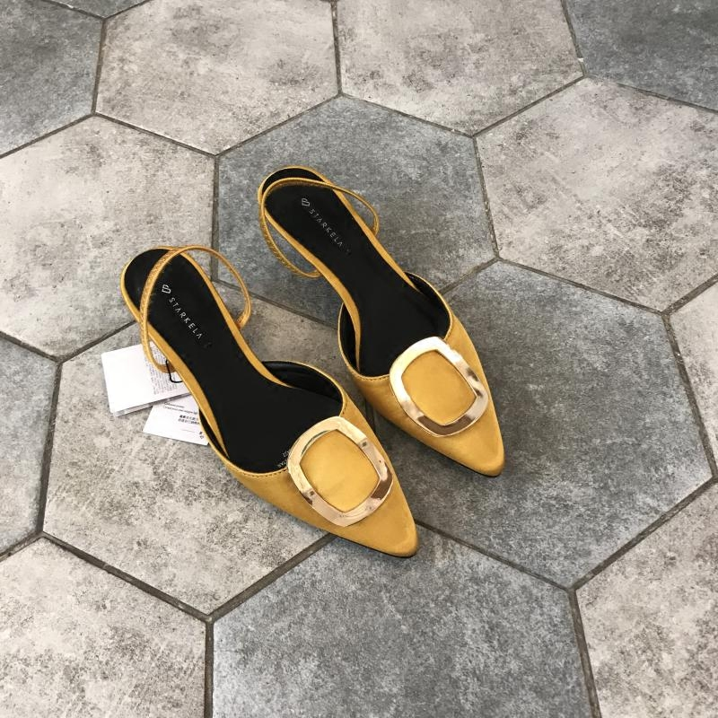 黄色凉鞋 2018年新款女鞋 姜黄色 尖头方扣水钻绊带两穿凉鞋后空单鞋高跟鞋_推荐淘宝好看的黄色凉鞋