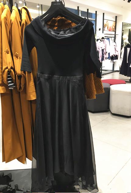 七分袖连衣裙 VERO TER MODA2018春季新款一字领七分袖连衣裙|31817C529_推荐淘宝好看的七分袖连衣裙