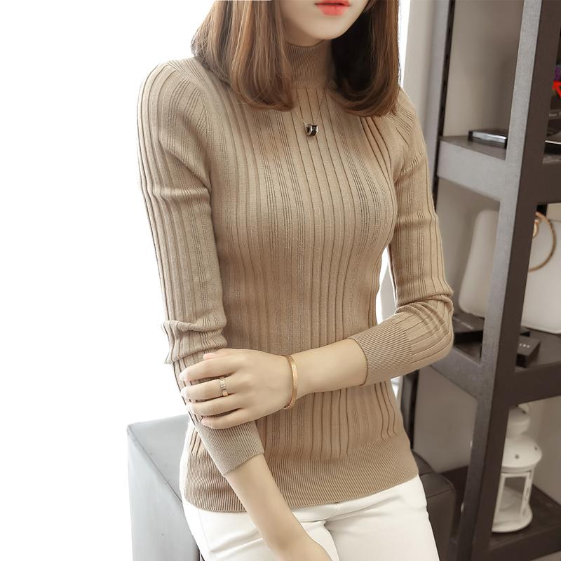 春装 半高领毛衣打底衫女长袖短款线衣春装新款套头百搭修身紧身针织衫_推荐淘宝好看的春装