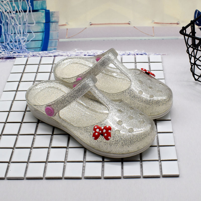 沙滩凉鞋推荐 2018新款洞洞鞋女夏包头沙滩鞋平底护士塑料凉鞋防滑果冻水晶鞋_推荐淘宝好看的女沙滩凉鞋