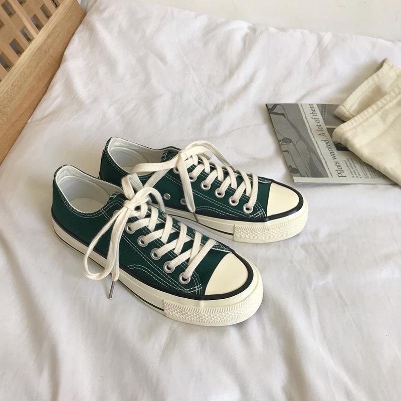 绿色帆布鞋 韩国街拍万年ins款百搭墨绿色低帮帆布鞋chic休闲复刻70S板鞋女_推荐淘宝好看的绿色帆布鞋