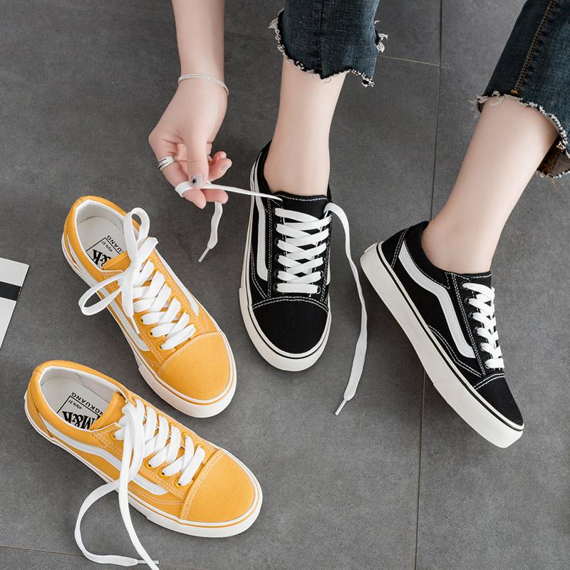 黄色帆布鞋 小黑鞋女2017新款街拍百搭夏新款韩版学生黄色帆布鞋韩国ulzzang_推荐淘宝好看的黄色帆布鞋
