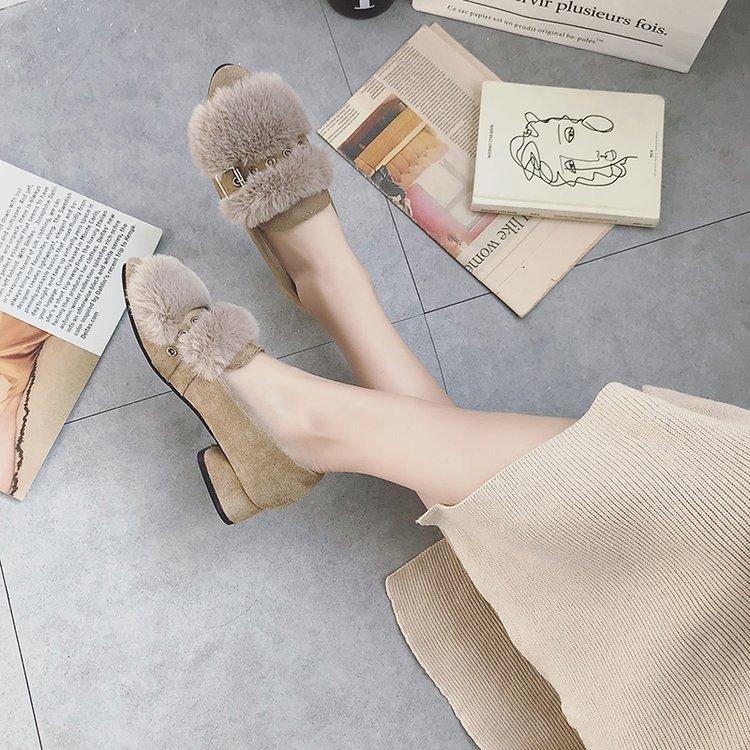 单鞋 毛毛单鞋女2018秋季新款加绒韩版百搭时尚中跟一字扣绒面低帮女鞋_推荐淘宝好看的女单鞋