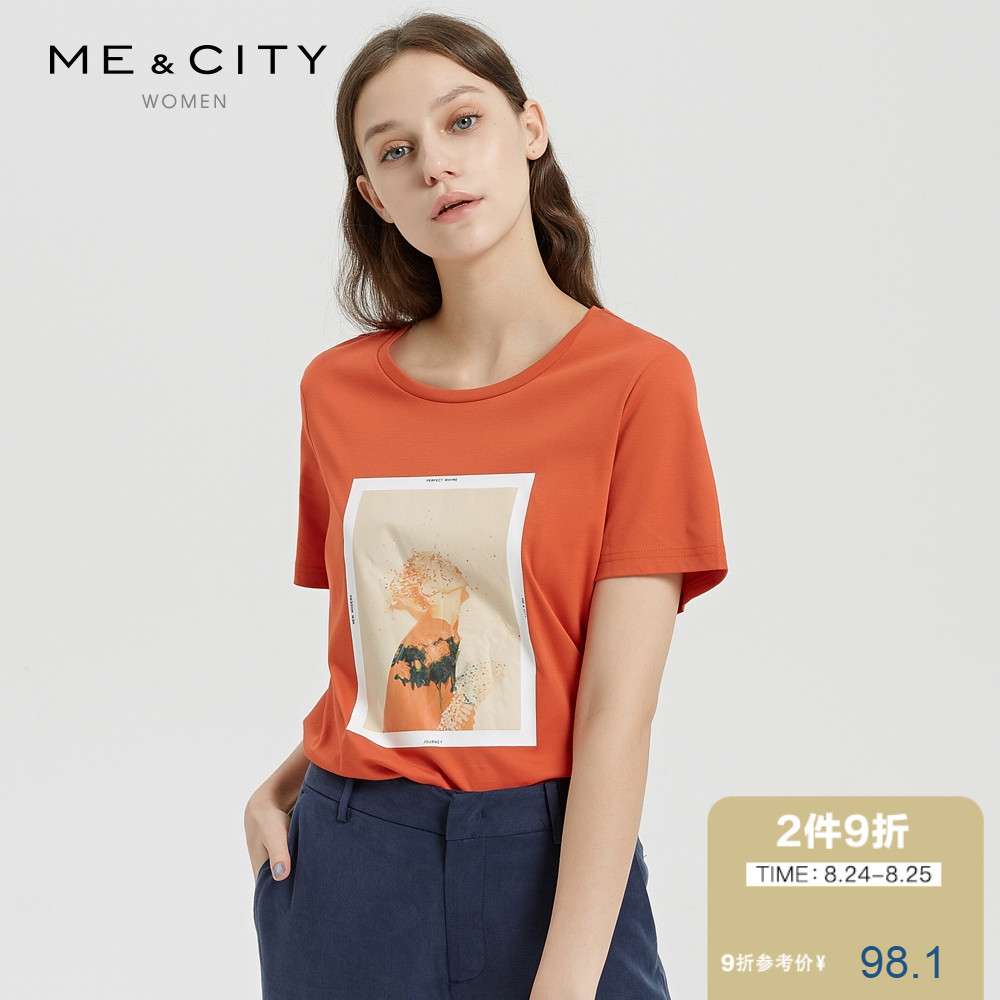 个性女装 折 纯棉MECITY女装夏新品简约帅气chic个性印花平面T恤_推荐淘宝好看的个性女装