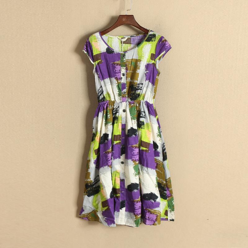 紫色连衣裙 (新品当天八折)433-1-7258佐系列● 18春乱色收腰连衣裙_推荐淘宝好看的紫色连衣裙