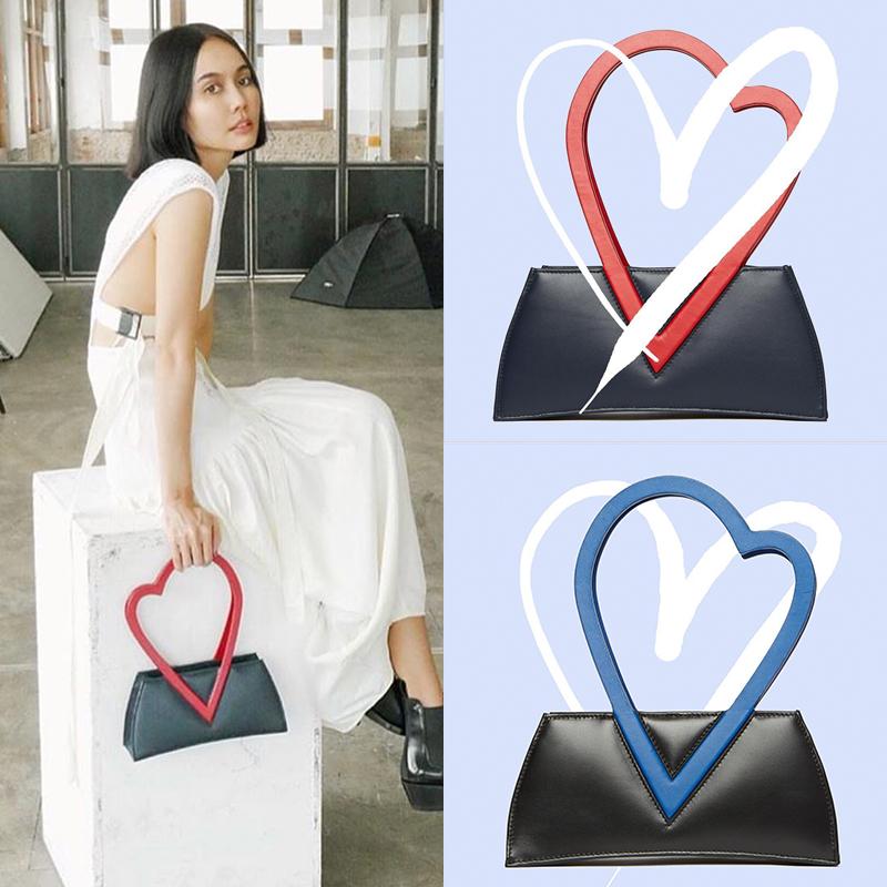 撞色糖果包 SX定制 泰国设计师款爱心手环撞色糖果色可爱设计感手提包单肩包_推荐淘宝好看的撞色糖果包