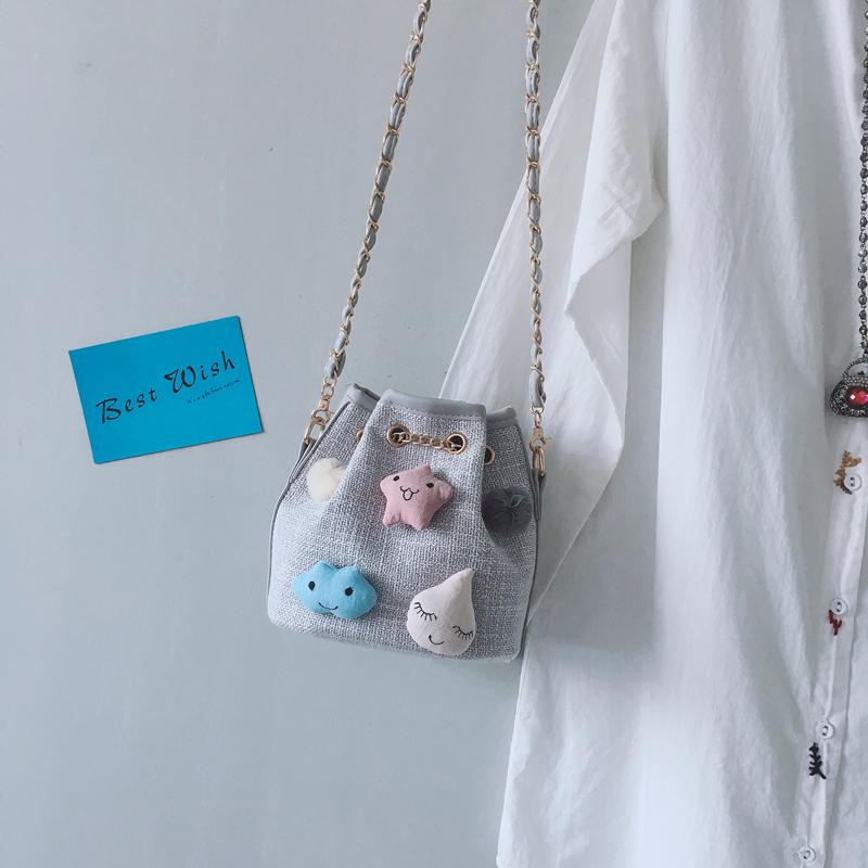 帆布包 上新小包包女2018新款帆布单肩包百搭斜挎水桶包夏季链条小包韩版_推荐淘宝好看的女帆布包