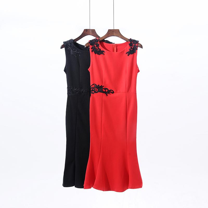 红色连衣裙 中长款无袖连衣裙KQ030_推荐淘宝好看的红色连衣裙