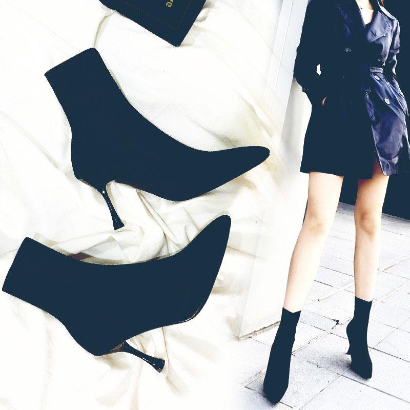 尖头短靴 弹力袜子靴女高跟鞋靴子针织袜靴瘦瘦靴细跟中筒短靴尖头秋冬裸靴_推荐淘宝好看的尖头短靴
