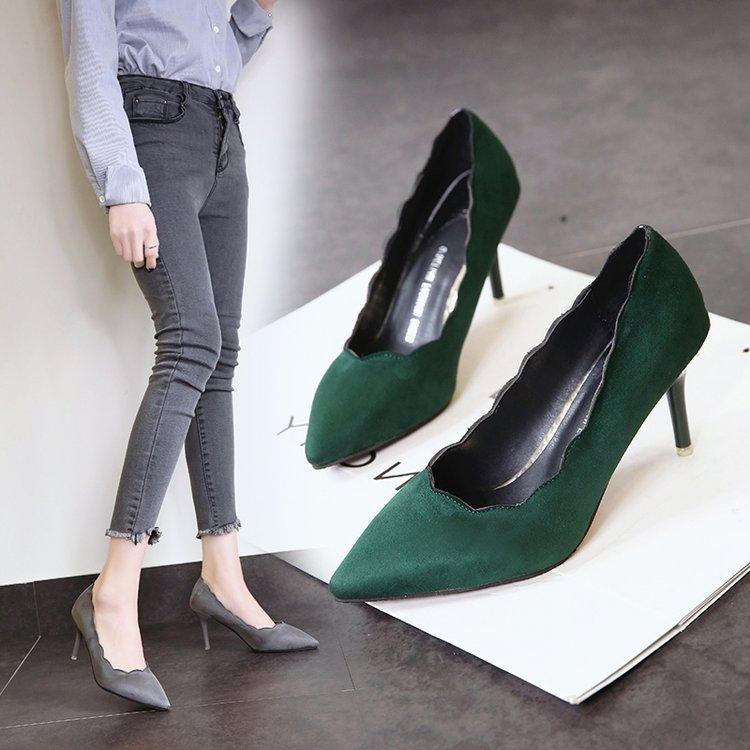 绿色高跟鞋 绿色高跟鞋女婚鞋花边尖头浅口单鞋8厘米女士宴会女款8cm少女百搭_推荐淘宝好看的绿色高跟鞋