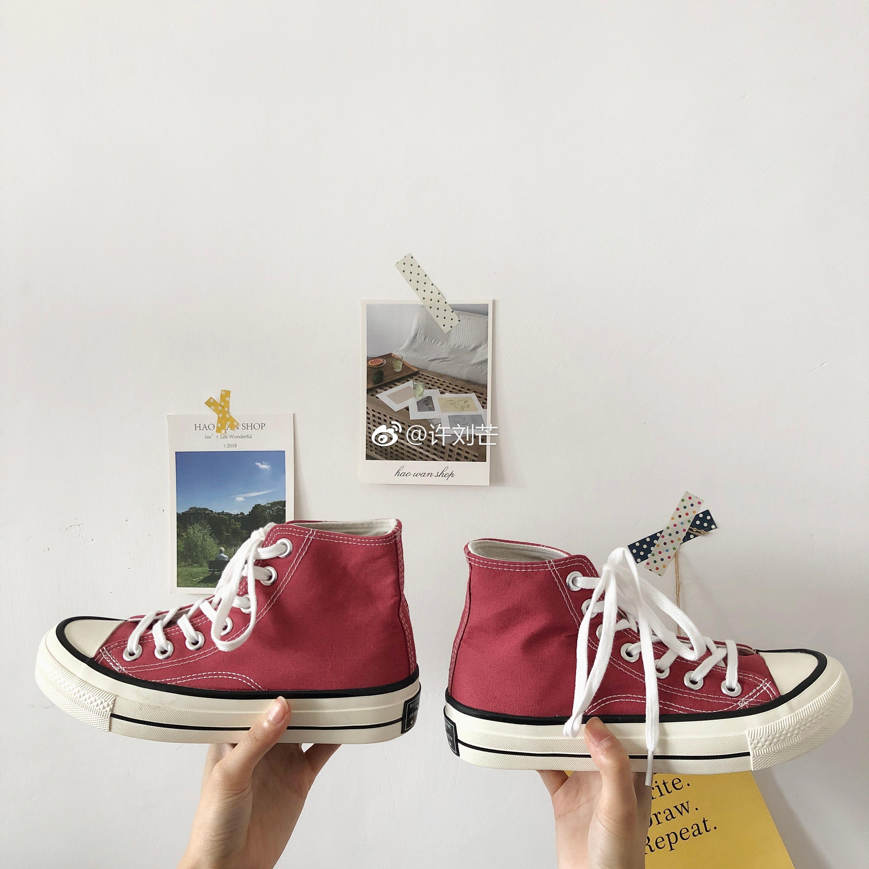 高帮复古板鞋 许刘芒 韩国街拍万年经典款豆沙色百搭复古1970s高帮帆布鞋板鞋女_推荐淘宝好看的高帮复古板鞋