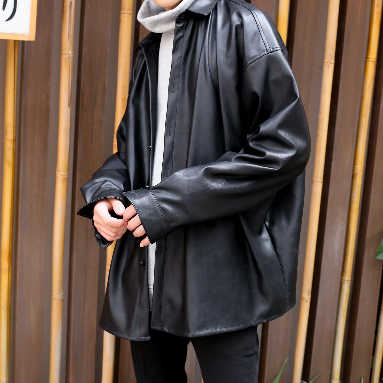 pu夹克 秋冬皮衣衬衫外套男衬衫领PU皮夹克青年韩版宽松机车夹克男女同款_推荐淘宝好看的男pu夹克