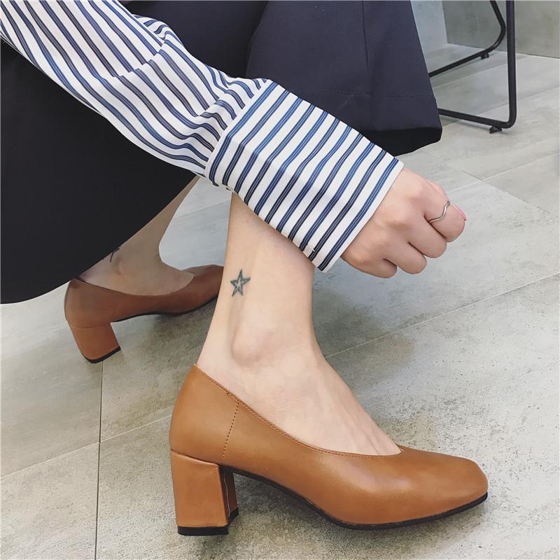 女性高跟鞋 哥芭诗春秋季韩版方头高跟浅口复古奶奶鞋玛丽珍百搭中粗跟单鞋女_推荐淘宝好看的女高跟鞋