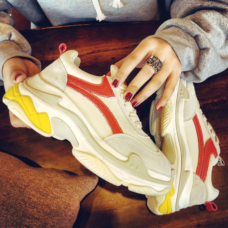 厚底鞋 欧洲站2018春季新款GD厚底松糕白色运动鞋拼色老爹鞋超火的鞋子女_推荐淘宝好看的女厚底鞋