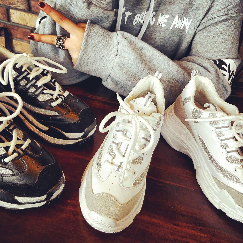 厚底鞋 欧洲站2018春季新款GD厚底松糕白色运动鞋老爹鞋跑鞋超火的鞋子女_推荐淘宝好看的女厚底鞋