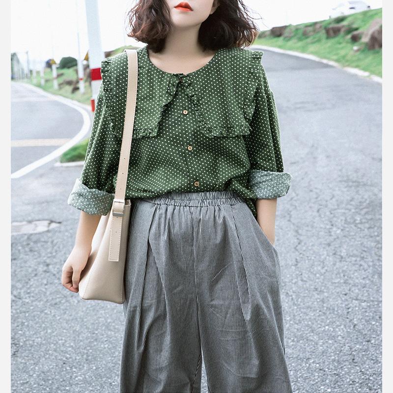波点衬衫 素旧安歌原创设计长袖休闲上衣 文艺复古绿色波点衬衫女秋装新款_推荐淘宝好看的女波点衬衫