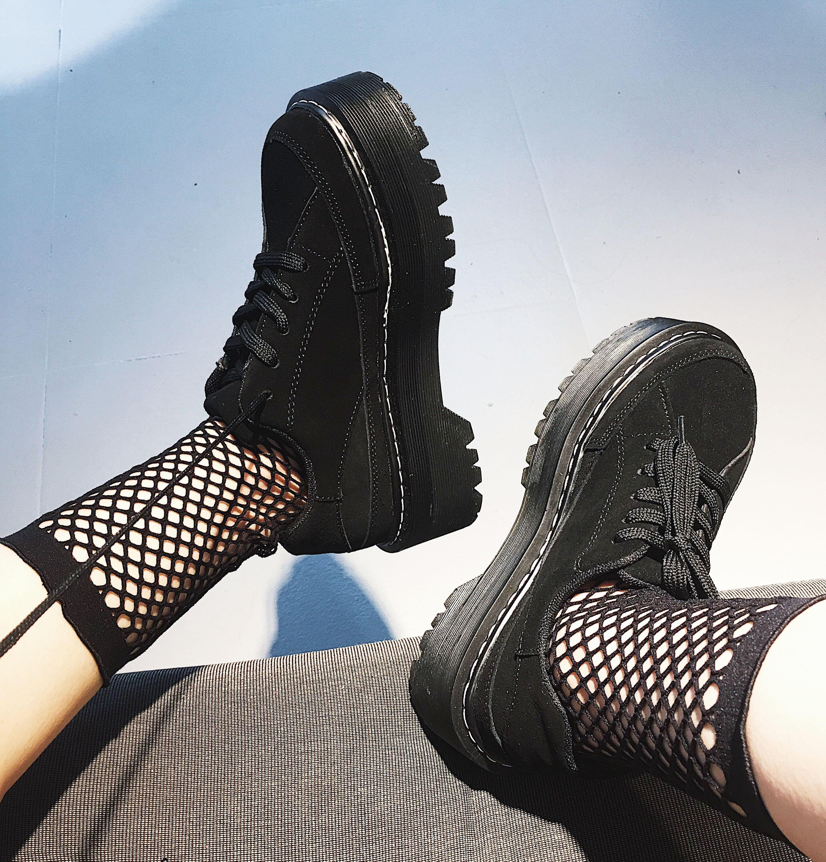 欧美松糕鞋 欧美2018春季新款朋克百搭原宿松糕鞋女厚底牛皮休闲皮鞋女单鞋_推荐淘宝好看的女欧美松糕鞋