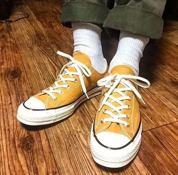低帮帆布鞋 2017春季经典款低帮黄色1970S复刻版三星标男女帆布鞋情侣休闲鞋_推荐淘宝好看的女低帮帆布鞋