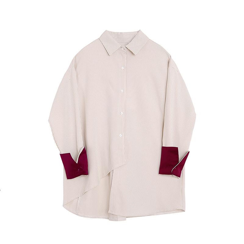 长袖撞色衬衫 VEGA C条纹衬衫女长袖2019早夏新款韩国学生撞色拼接宽松上衣潮_推荐淘宝好看的女长袖撞色衬衫