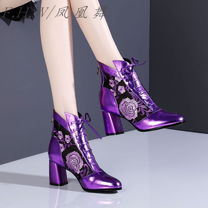 紫色凉鞋 紫色网纱短靴真皮绣花中跟性感罗马红色凉靴粗跟镂空花朵系带凉鞋_推荐淘宝好看的紫色凉鞋