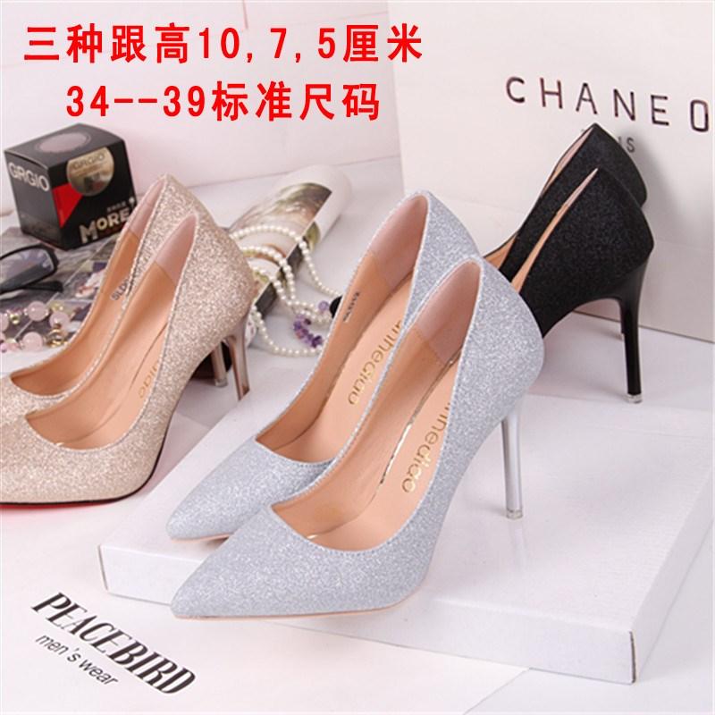 中国高跟鞋 夏季高跟鞋女2017新款百搭韩版大学生公主春季少女细跟小清新2018_推荐淘宝好看的女高跟鞋