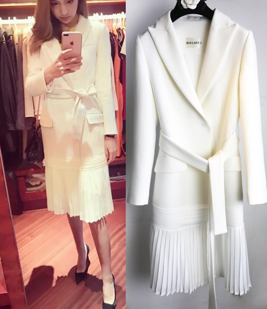 长款风衣 2018春夏新品白色褶皱长款女士西装外套风衣原1100高档精品面料_推荐淘宝好看的女长款风衣