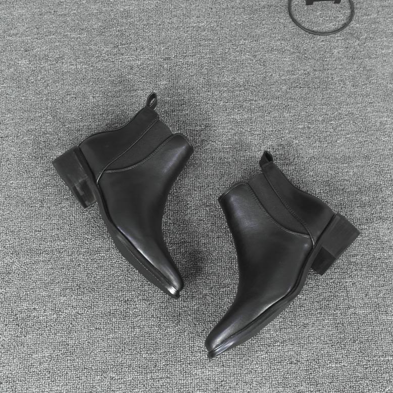 尖头短靴 短靴 女 平底中跟尖头松紧带韩版切尔西靴 裸靴_推荐淘宝好看的尖头短靴
