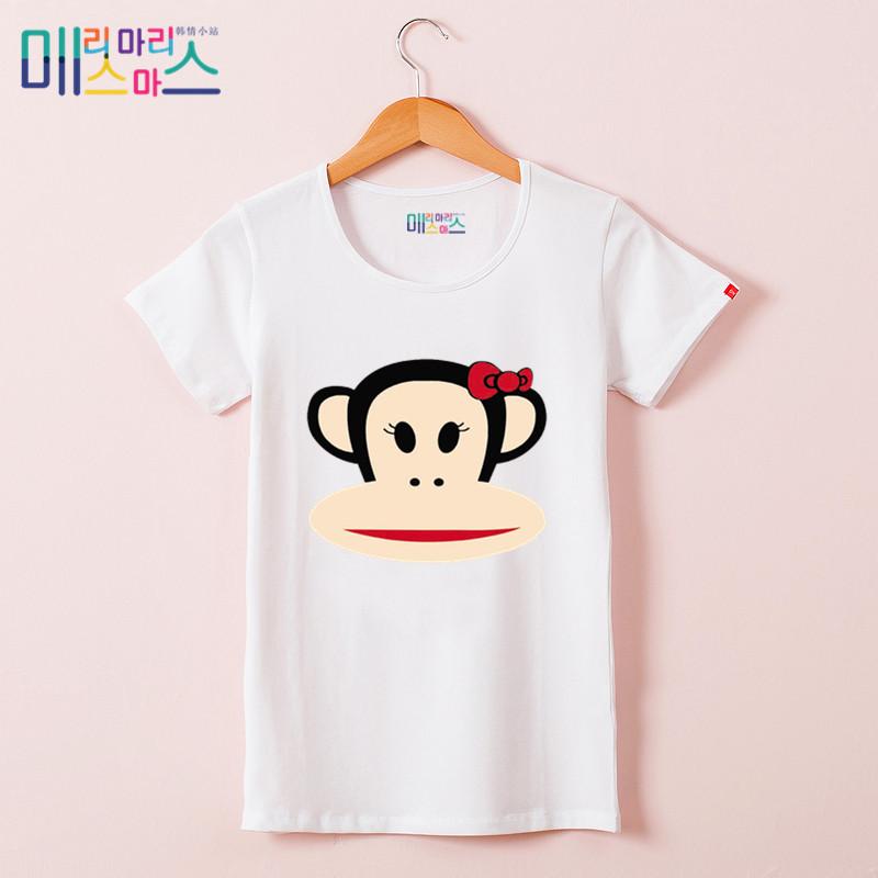 新款大嘴猴t恤 2018夏天新款女装上衣修身t恤女 短袖夏款大嘴萌猴纯棉白色打底衫_推荐淘宝好看的女新款大嘴猴t恤