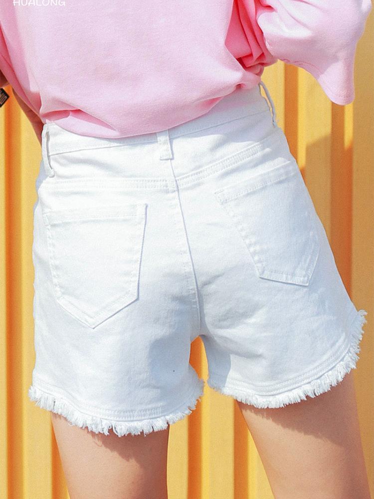 红色牛仔裤 高腰牛仔短裤女白色2019新款夏韩版弹力百搭网红宽松显瘦a字阔腿_推荐淘宝好看的红色牛仔裤