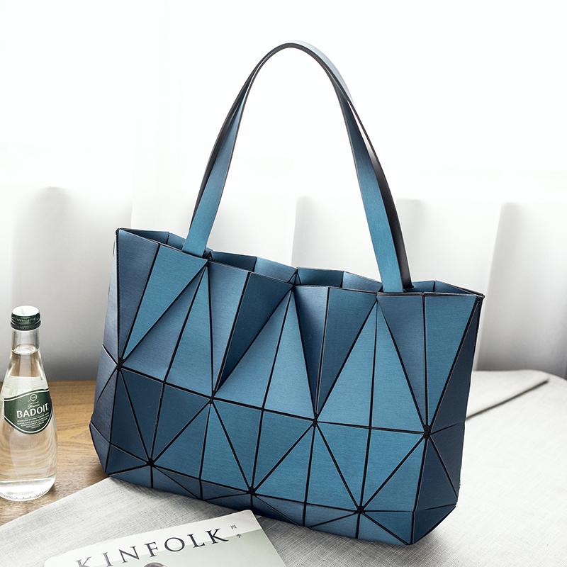 紫色手提包 日本同款2018新款女包几何菱格手提包竖款单肩包折叠百变女士包包_推荐淘宝好看的紫色手提包