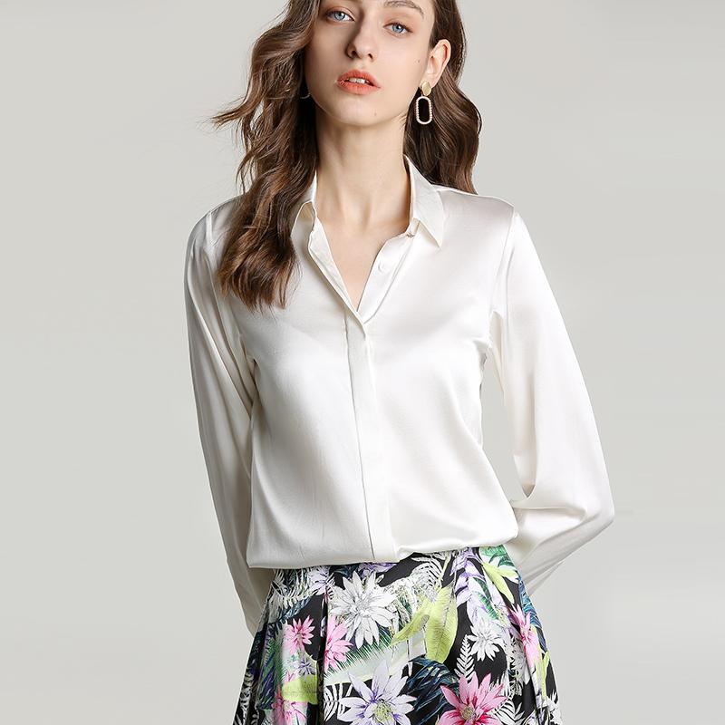 衬衫 重磅真丝白衬衫 2019春季新款暗门襟桑蚕丝简约法式慵懒衬衣女衫_推荐淘宝好看的女衬衫