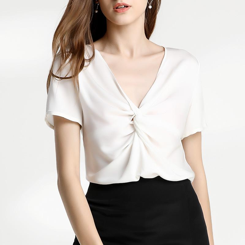 衬衫 女装2019夏装新款 重磅真丝衬衫短袖半袖白V领褶皱优雅桑蚕丝上衣_推荐淘宝好看的女衬衫
