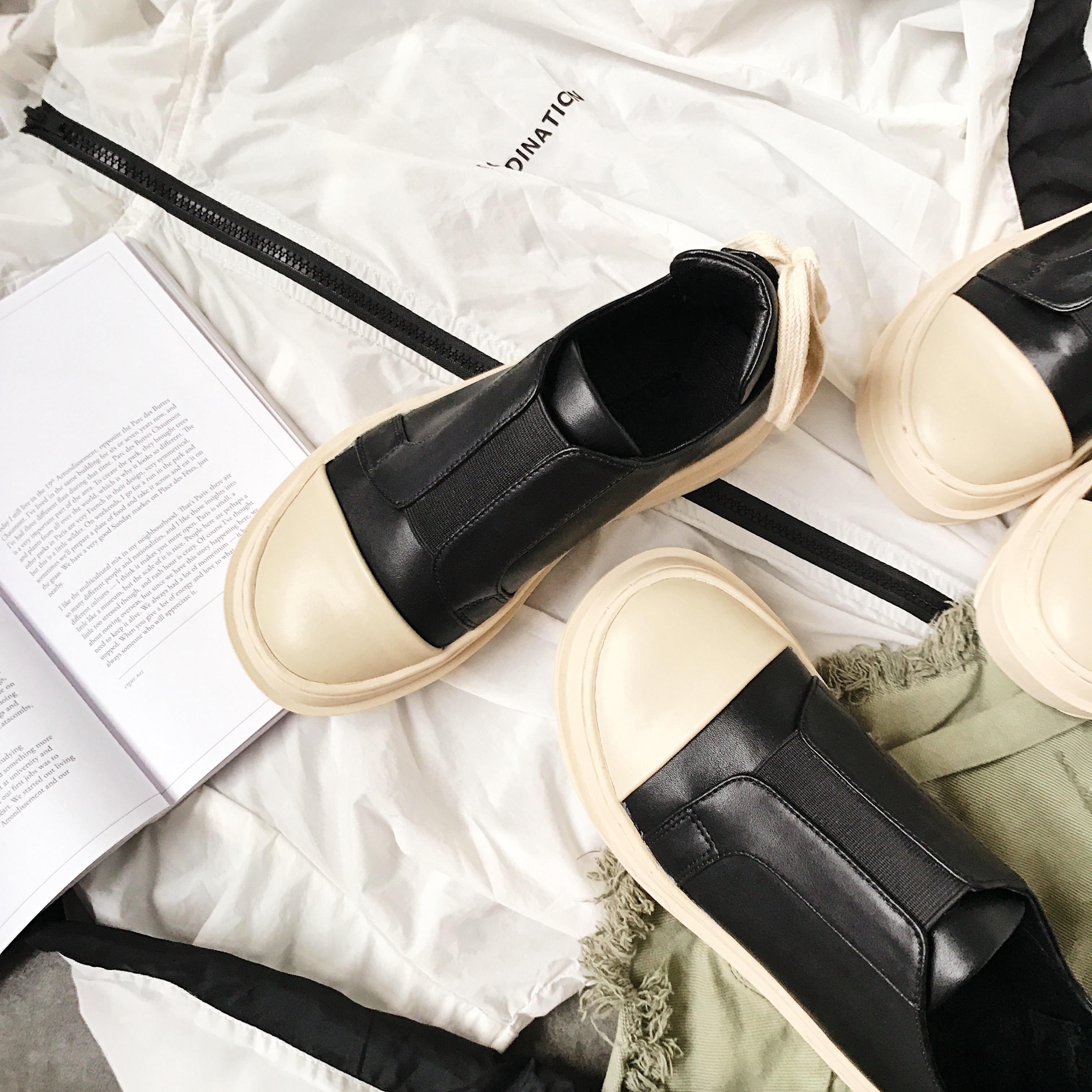 厚底松糕鞋 CHOCKYA厚底贝壳头板鞋套脚松糕单鞋女运动休闲学生鞋霍比特人鞋_推荐淘宝好看的女厚底松糕鞋