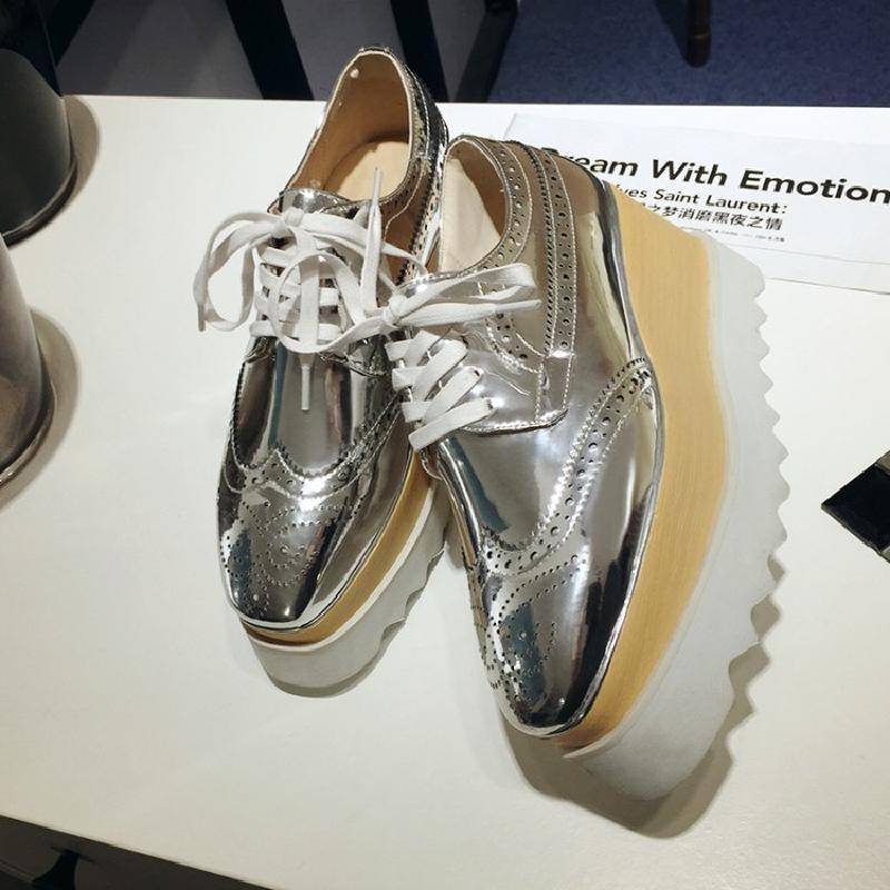 学院风松糕鞋 欧洲站春季新款镜面漆皮方头厚底松糕鞋学院风坡跟休闲鞋布洛克鞋_推荐淘宝好看的学院风松糕鞋