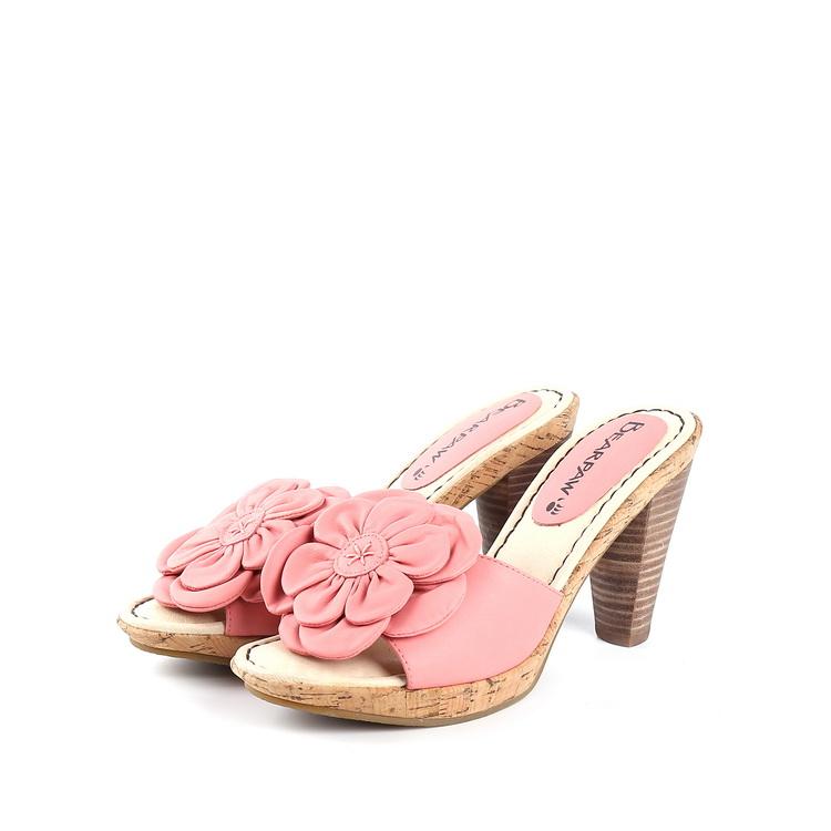 粉红色凉鞋 十九系列春夏装专柜正品女鞋粉红色花装饰超高跟露趾凉鞋 58164_推荐淘宝好看的粉红色凉鞋
