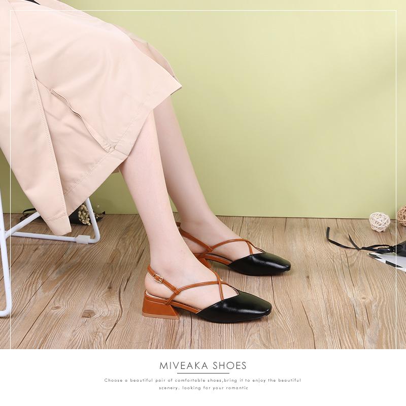 罗马女凉鞋 米薇卡粗跟凉鞋包头一字扣女鞋2018夏季新款中跟方头罗马鞋_推荐淘宝好看的女罗马凉鞋