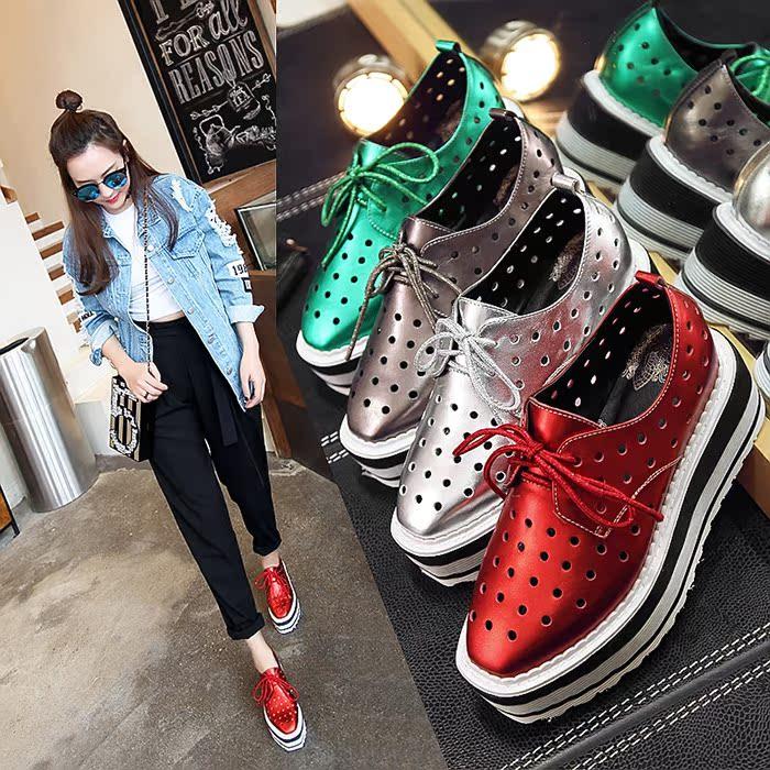 红色松糕鞋 春秋季松糕底方头单鞋中跟高跟真皮乐福鞋红色银色灰色绿色女鞋子_推荐淘宝好看的红色松糕鞋