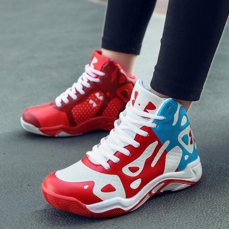 篮球鞋 篮球鞋男鸳鸯高帮战靴夏季学生透气运动鞋实战耐磨防滑减震儿童鞋_推荐淘宝好看的男篮球鞋