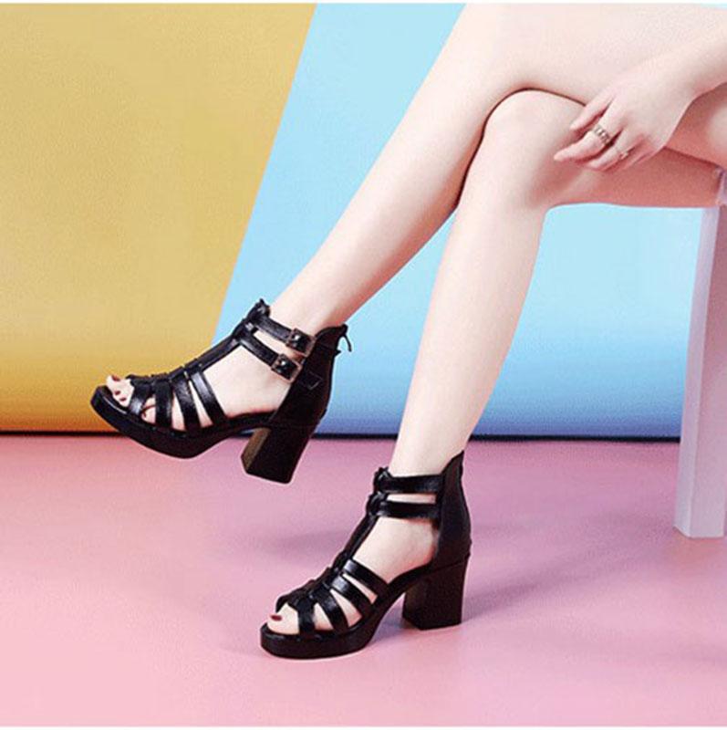 黑色罗马鞋 真皮粗跟凉鞋女夏天高跟防水台凉靴黑色百搭时尚罗马鞋中年妈妈鞋_推荐淘宝好看的黑色罗马鞋
