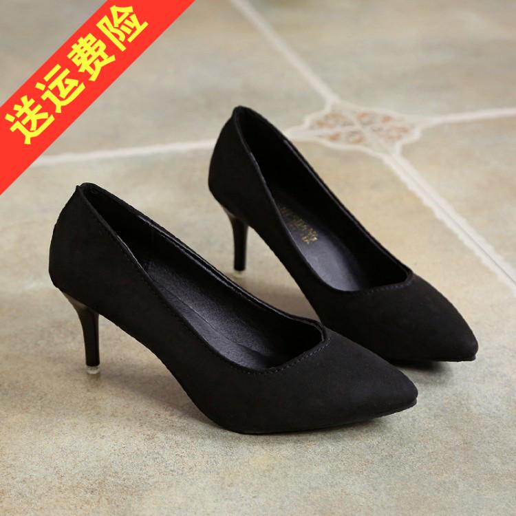 尖头高跟鞋 黑色职业工作中跟单鞋女秋季细跟4-6cm大码绒面尖头高跟鞋3-5-7cm_推荐淘宝好看的女尖头高跟鞋