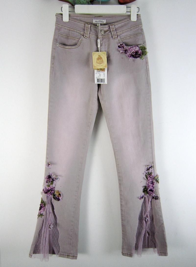 紫色牛仔裤 专柜正品 PinkMary粉红玛琍 玛丽秋冬钉珠绣花蕾丝微喇牛仔裤女_推荐淘宝好看的紫色牛仔裤