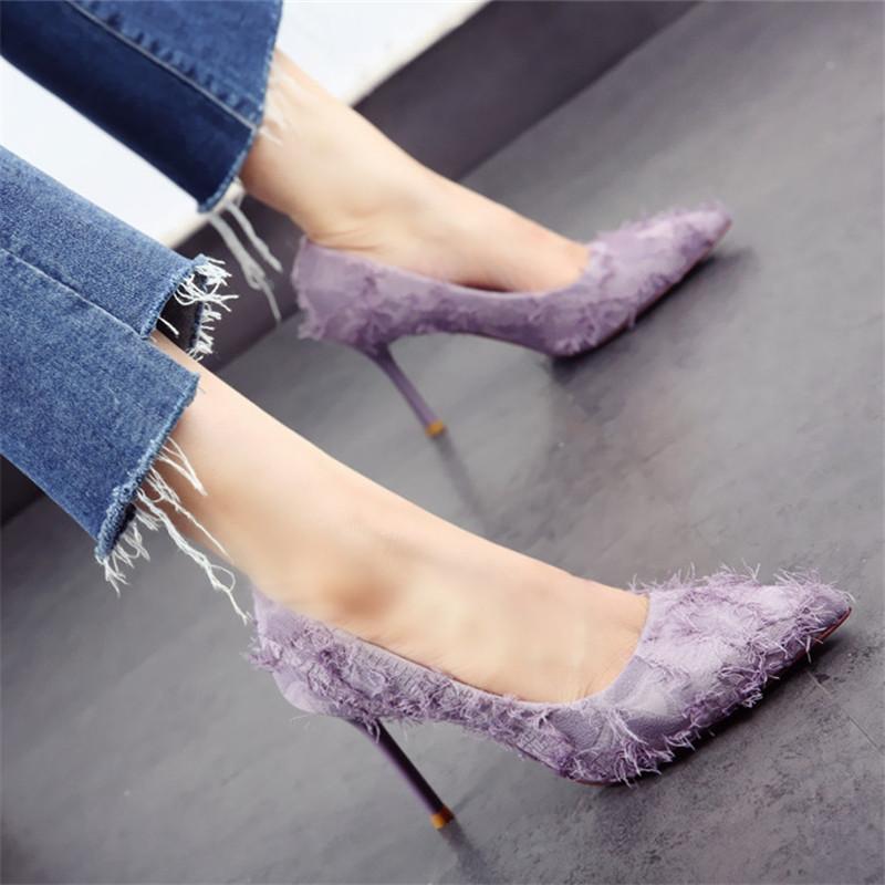 紫色单鞋 韩版仙女高跟鞋2018春秋新款尖头流苏细跟浅口百搭单鞋女紫色名媛_推荐淘宝好看的紫色单鞋