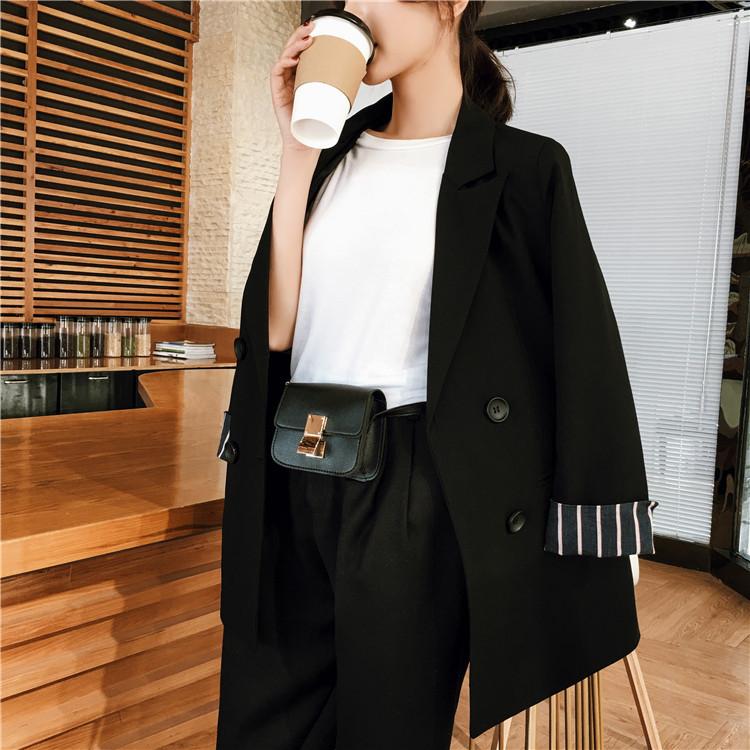 女士小西服 2017秋冬新款韩版休闲小西装女卷边袖宽松显瘦中长款外套职业上衣_推荐淘宝好看的女小西装