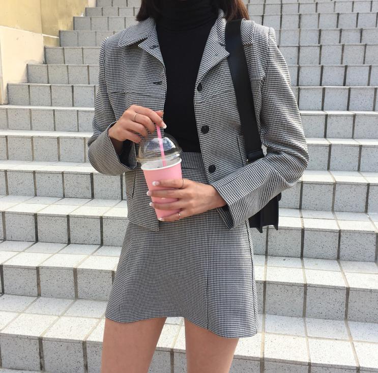 套装 【BP】韩国ins秋装新款复古可爱千鸟格纹翻领短外套+高腰短裙套装_推荐淘宝好看的套装