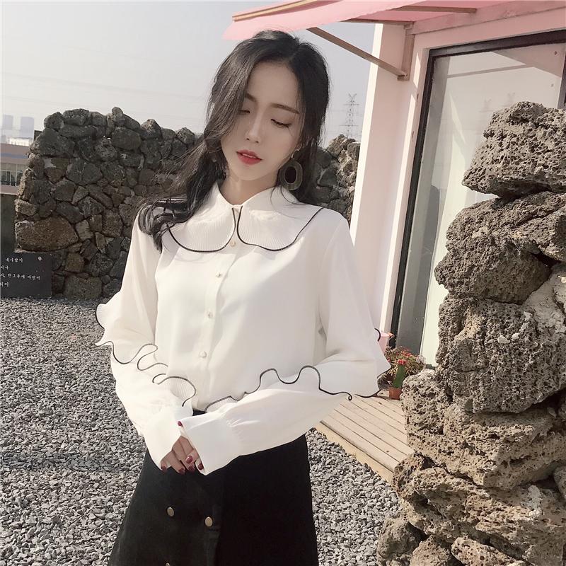 白色雪纺衬衫 2018春季新款韩版宽松翻领荷叶边雪纺衬衫女显瘦长袖打底衬衣上衣_推荐淘宝好看的女白色雪纺衬衫