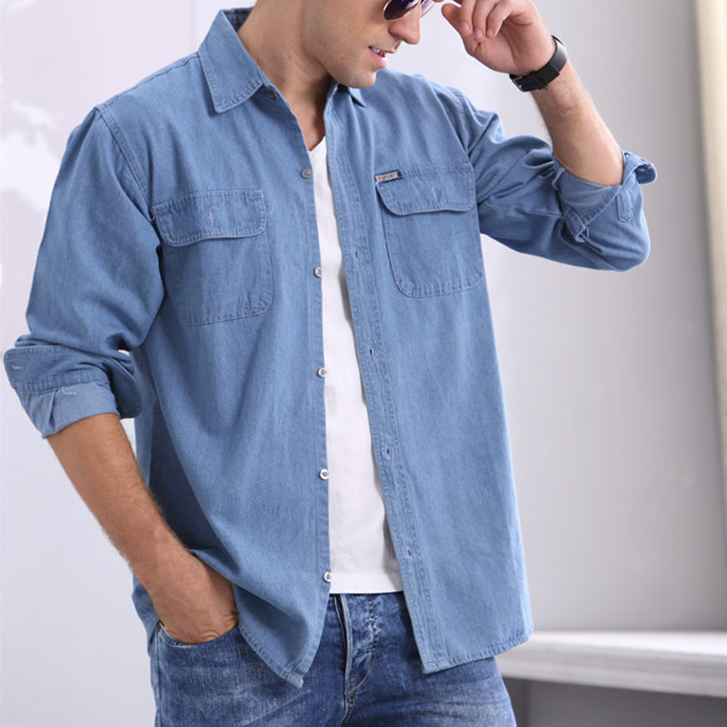 男士牛仔衬衫 夏季中年男士纯棉牛仔衬衫长袖宽松大码长袖衬衣防晒工作服薄款_推荐淘宝好看的男牛仔衬衫